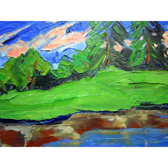 Original impressionist California plein air Sierra mountain pond oil painting by Lynne French. The signed painting...