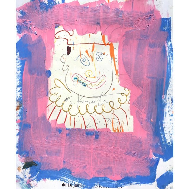 Abstract Abstract 'Pink Jester' Framed Picasso Poster Painting by Sean Kratzert For Sale - Image 3 of 4