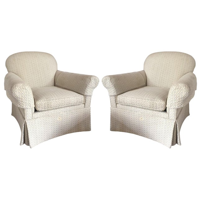 Skirted Club Chairs - A Pair - Image 1 of 3