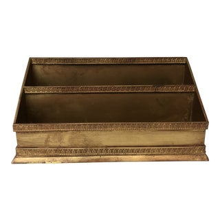 Brass Neoclassic Desk Organizer For Sale
