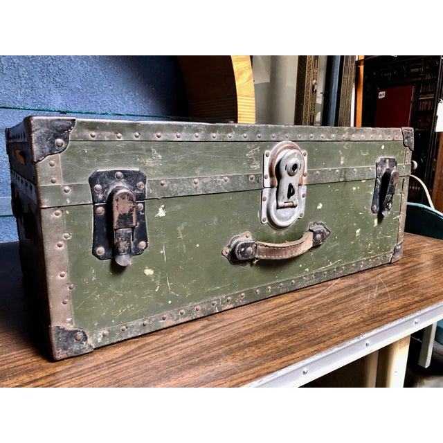 Vintage P & S Co. Military Footlocker With Contrasting Metal Hardware and Leather Handle For Sale - Image 12 of 12