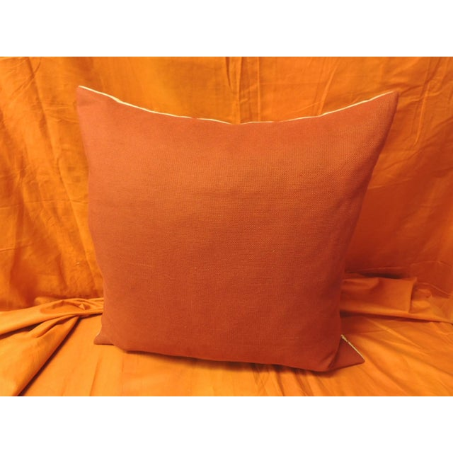 Red and Natural Embroidered Nautical Decorative Pillow For Sale - Image 4 of 5