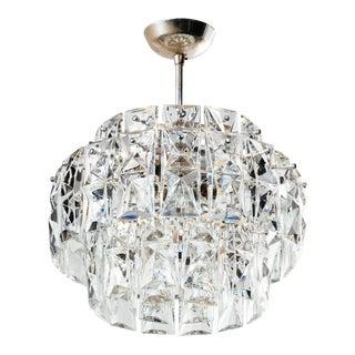 German Mid-Century Modern Faceted Crystal Chandelier by Kinkeldey For Sale