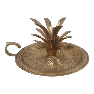 Vintage Hollywood Regency Brass Pineapple Candlestick Holder