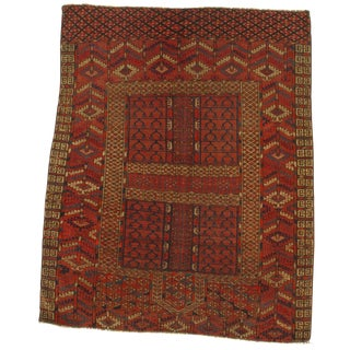 Late 19th Century Antique Russian Tekkeh Rug - 3′11″ × 4′10″ For Sale