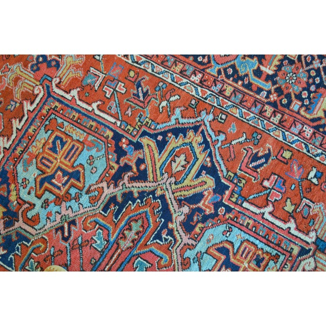 """Antique Persian Heriz Rug - 8'1"""" x 11'2"""" - Image 6 of 7"""