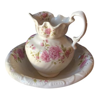Painted Rose & Peony Basin and Pitcher - A Pair For Sale