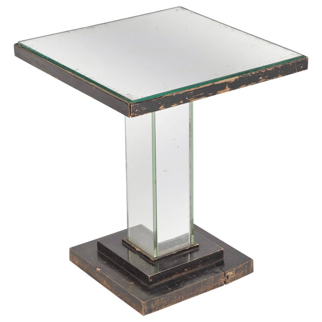 1930s English Art Deco Mirrored Square Side Table For Sale