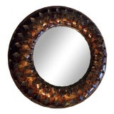 Image of Contemporary Round Metal Large Wall Mirror For Sale