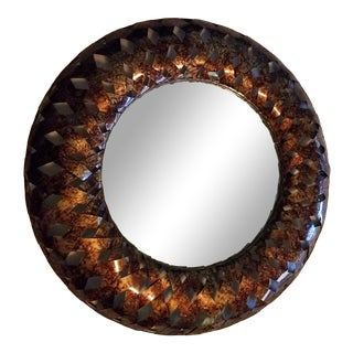 Contemporary Round Metal Large Wall Mirror For Sale