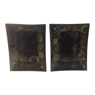 1960's Atomic Pattern Smoked Glass Snack Trays - A Pair For Sale