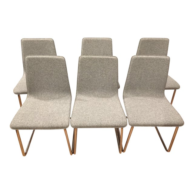 Contemporary CB2 Tweed Breuer-Style Dining Chairs - Set of 6 - Image 1 of 7