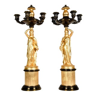 Antique French Five Arms Bronze / Porcelain Candelabras - A Pair For Sale