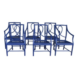 McGuire Indigo Bamboo Dining Chairs - Set of 6