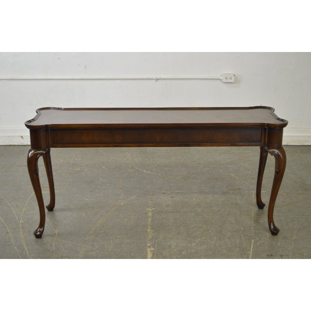 Hekman Furniture Hekman Burl Wood Queen Anne 2 Drawer Console Table For Sale - Image 4 of 11