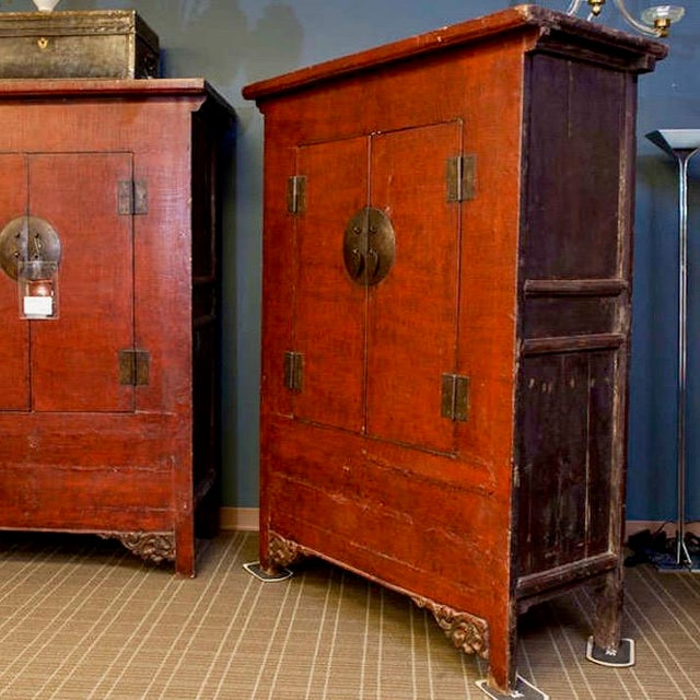 Asian Tall Chinese Red Lacquer Two Drawer Cabinet For Sale - Image 3 of 6