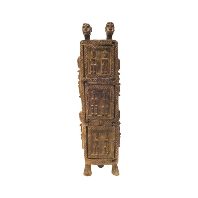 Vintage Dogon Carved Wood Tobacco Leaf Box - Image 1 of 9