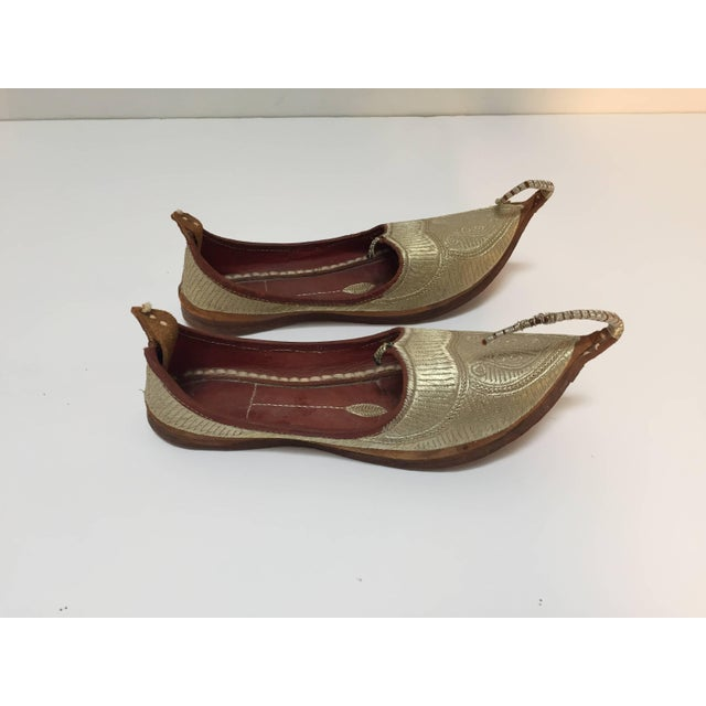 Islamic Middle Eastern Arabian Turkish Leather Shoes With Gold Embroidered Curled Toe For Sale - Image 3 of 10