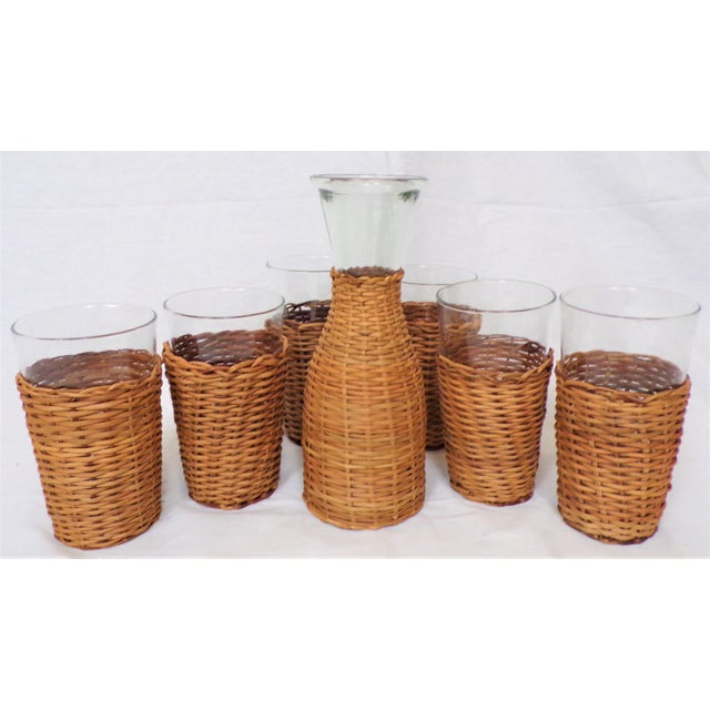 Vintage Rattan Wine Carafe and Glasses - Set of 7 For Sale - Image 9 of 11