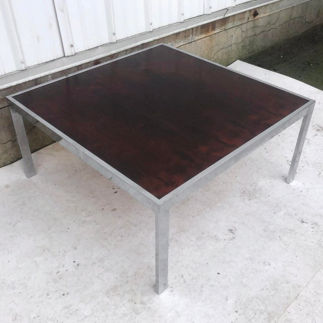 Mid-Century Modern Vintage Modern Rosewood and Chrome Coffee Table For Sale - Image 3 of 13