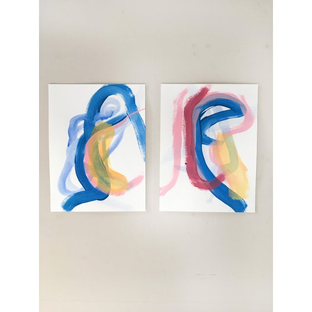Acrylic Paint Burgundy Stripe Set of Two Original Paintings For Sale - Image 7 of 7