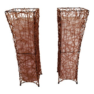 Contemporary Wire and Wicker Table Lamps - a Pair For Sale