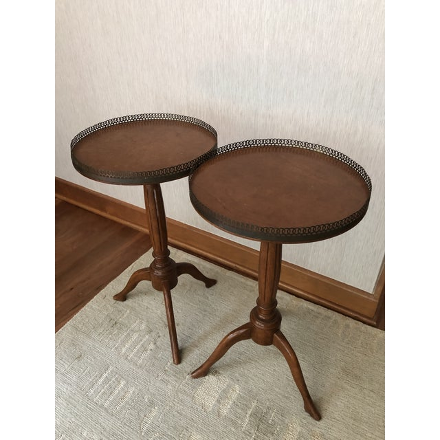 Brown Traditional Wood Drink/Gueridon Tables - a Pair For Sale - Image 8 of 8