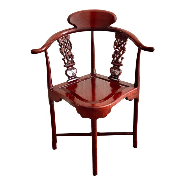 Hand Carved Rosewood Oriental Corner Chair For Sale