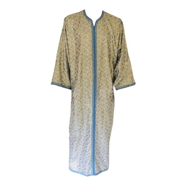 Metallic Blue and Silver Brocade 1970s Maxi Dress Caftan, Evening Gown Kaftan For Sale