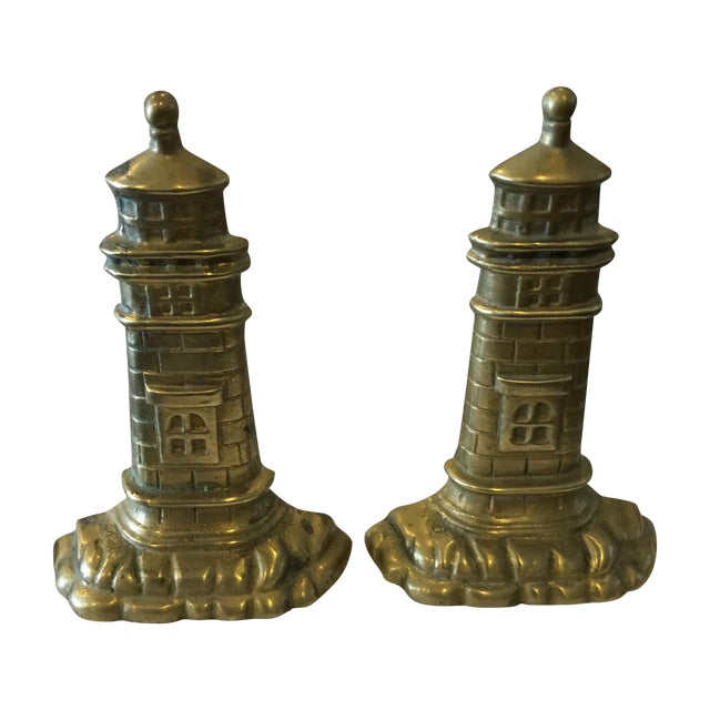 Brass Lighthouse Bookends - A Pair - Image 1 of 6