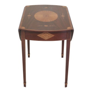1990s Vintage Baker Stately Homes Highly Inlaid Mahogany Pembroke Table For Sale