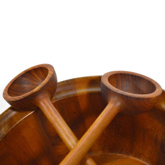 Teak Oversize Staved Teak Bowl & Servers by Richard Nissen For Sale - Image 7 of 12