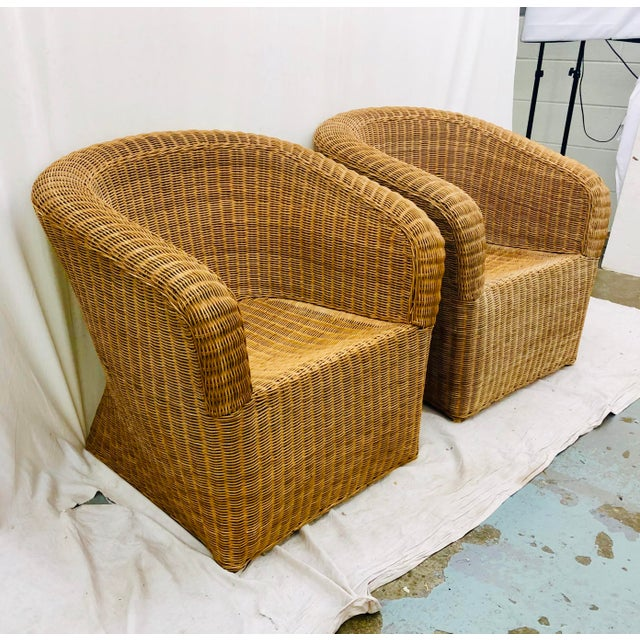 Boho Chic Pair Vintage Woven Wicker Club Chairs For Sale - Image 3 of 10