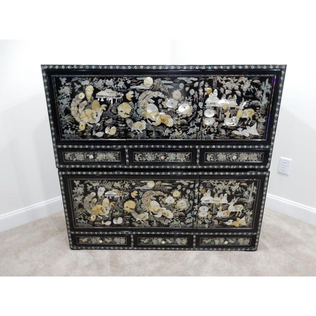 Chinese Mother of Pearl Inlaid Lacquered Cabinet For Sale - Image 4 of 11