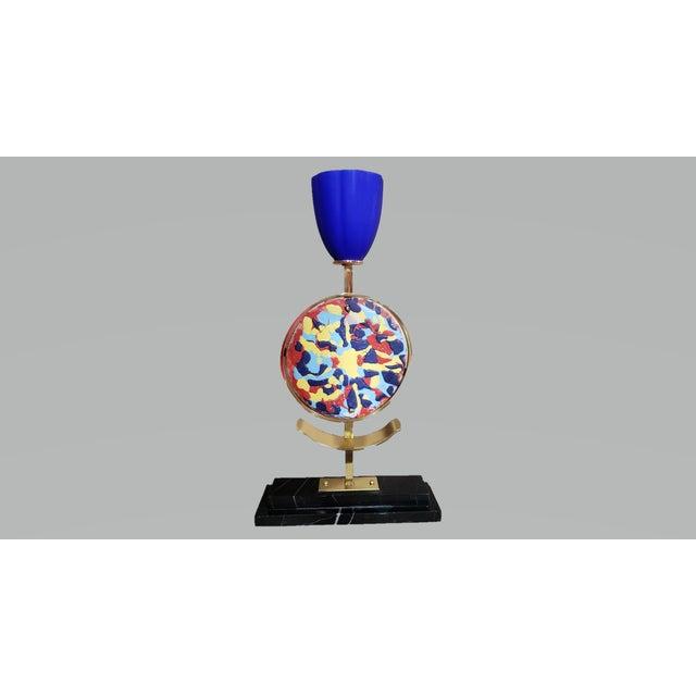 Mid-Century Modern Mid-Century Modern Vintage Marble & Ceramic Table Lamp For Sale - Image 3 of 13