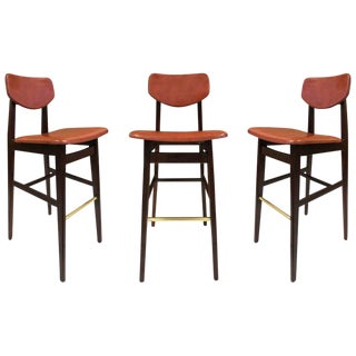 Three Jens Risom Bar Stools