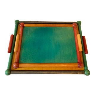 Mid-Century Modern Wood Trays by Manzoni Pietro for Vietri, Bergamo Italy - Set of 2 For Sale