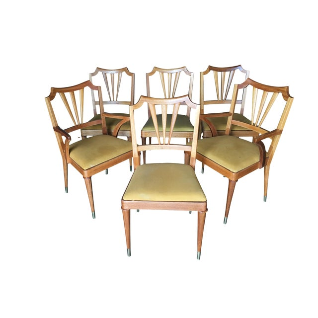 Mid-Century Modern Mid-Century Walnut Dining Room Set Table, Chairs, Buffet - 8 Pc. Set For Sale - Image 3 of 10