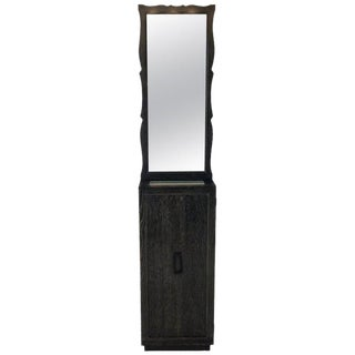 French Modern Cerused Pedestal Cabinet and Mirror For Sale