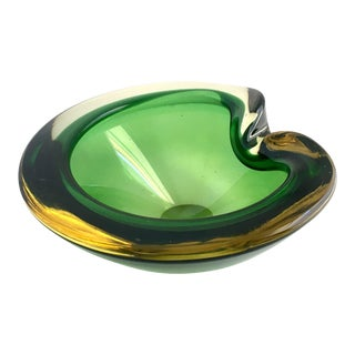 Contemporary Flavio Poli Green Murano Glass Dish For Sale