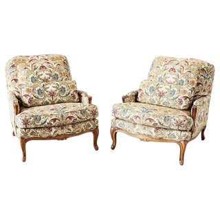 Pair of Baker Louis XV Provincial Style Bergeres For Sale