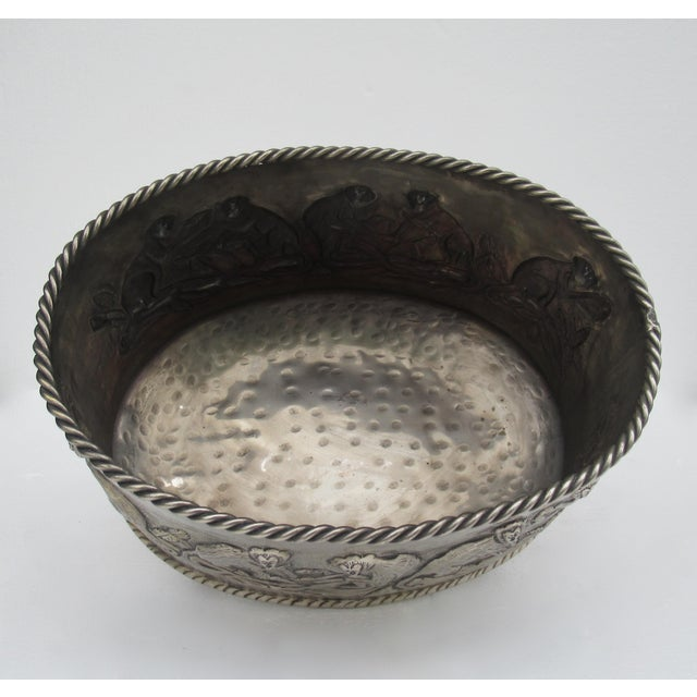 Castilian Hammered Silver Monkey Embossed Centerpiece Jardiniere, Planter For Sale - Image 9 of 13