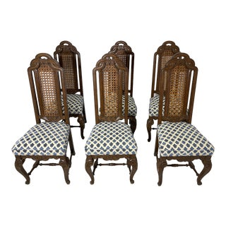 Victorian Oak Ribbon High Back Chairs - Set of 6 For Sale
