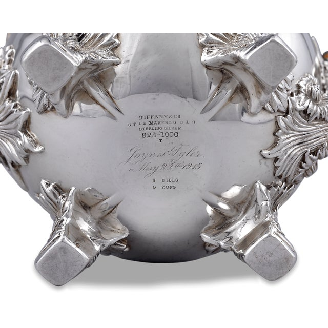 Tiffany and Co. Chrysanthemum Sterling Silver Tea Set by Tiffany & Co. - 3 Pc. Set For Sale - Image 4 of 5