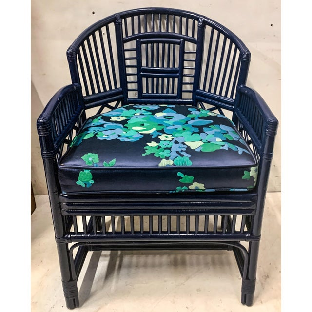 """This is a 1970s pair of newly lacquered bamboo chairs with chinese chippendale styling. Seat;19"""". Arm;25""""."""