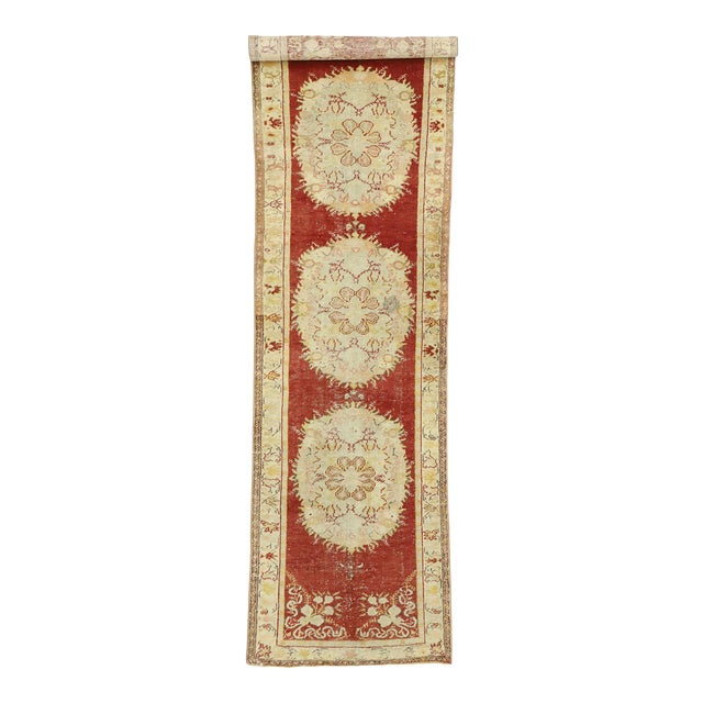 Vintage Turkish Oushak Runner - 03'03 X 11'05 For Sale