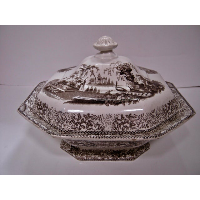 Very early antique brown & white Staffordshire covered vegetable/casserole with an ornate finial that completes this...