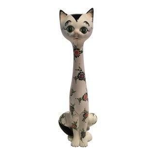 Italian Mid Century Hand Painted Cat Figurine For Sale