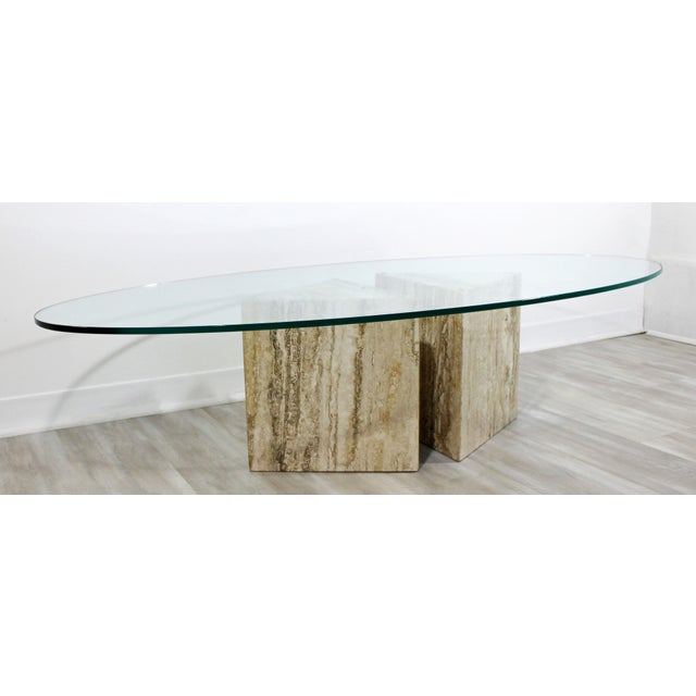 1970s Mid-Century Modern Italian Marble Chrome Glass Surfboard Coffee Table, 1970s For Sale - Image 5 of 9