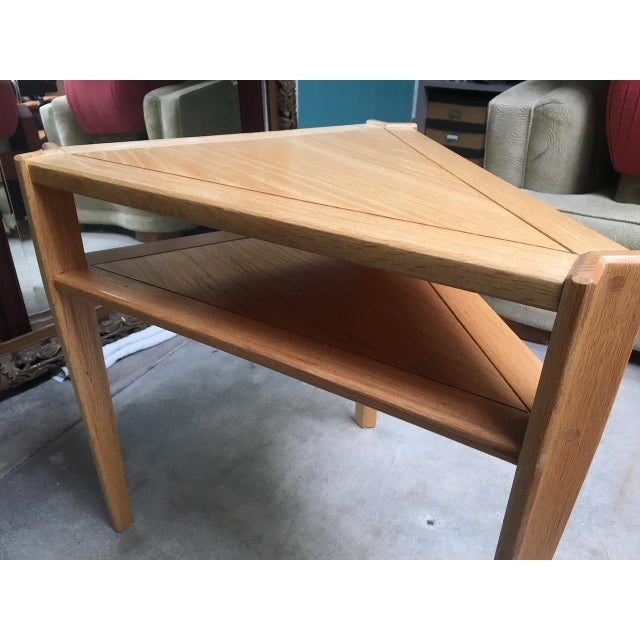 Studio Triangular Side Table in Solid Oak For Sale - Image 9 of 10